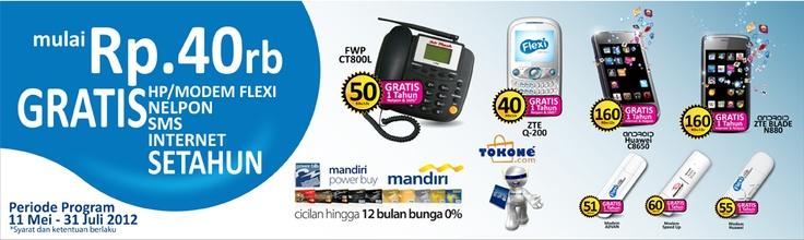 Program bundling Flexi bagi pemegang Kartu Kredit Mandiri. Mulai 40 rbu, gratis HP/Modem + Nelpon/SMS/Internet 1 thn