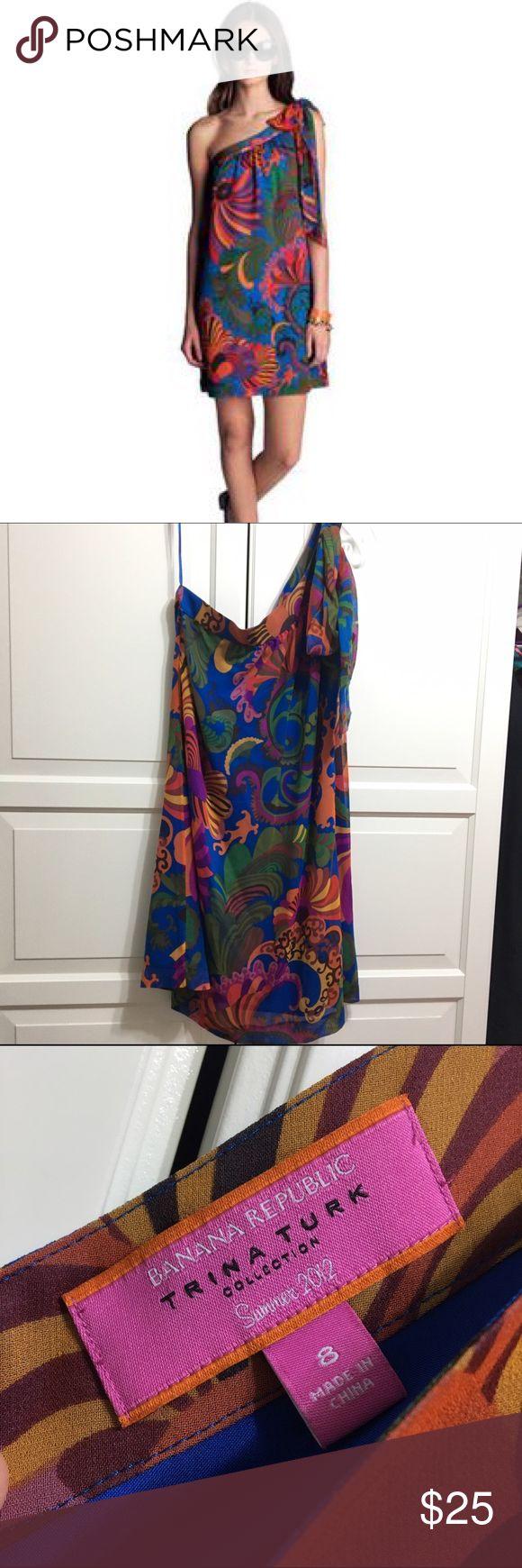 Banana Republic Trina Turk Coachella dress Worn once. Beautiful silk dress with polyester lining. Banana Republic Dresses One Shoulder