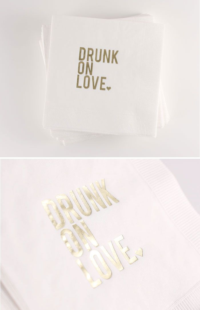 *BRAND NEW* 'Drunk On Love' Cocktail Napkins // Available in Blush, White or Ecru... or print to order in your own color combo // $18 for a box of 50