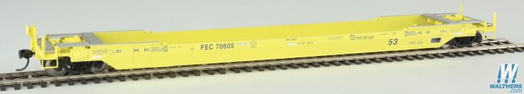 Walthers - Gunderson Rebuilt All-Purpose 53' Well Car - Ready to Run - Florida East Coast #70605 (yellow, Small Hurricane Logo) - 920-109013