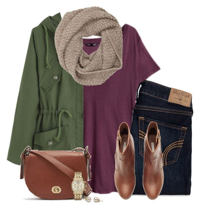 """""""V-neck tee, army green jacket & knit scarf"""" by steffiestaffie ❤ liked on Polyvore featuring H&M, Hollister Co., Samuji, Sophia Kokosalaki and Michael Kors"""