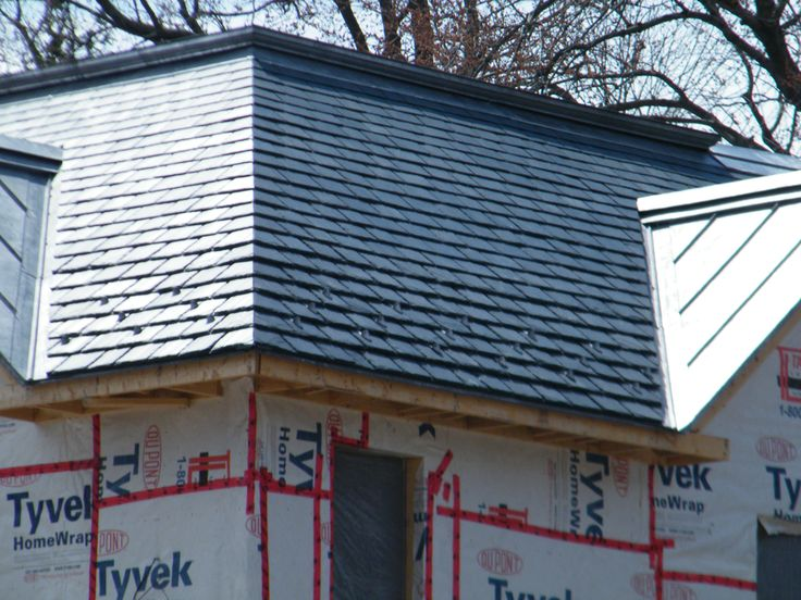 """Beautiful """"heavy"""" slate roof under construction, North Country Unfading Black"""