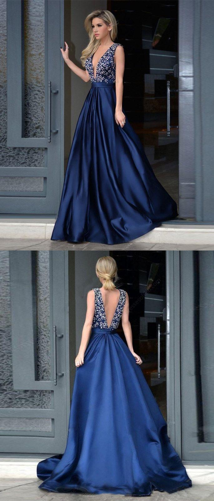 elegant v neck navy blue prom dresses, a line beading bodice long evening dresses, sweep train satin prom dresses with pleats