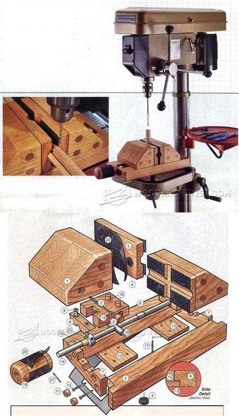 DIY Drill Press Vise - Drill Press Tips, Jigs and Fixtures   WoodArchivist.com #woodworkingtools