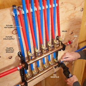 You can install PEX just like you would other pipe, with main lines and branches to each fixture. But you lose a lot of the benefits of PEX with this system since it requires so many fittings. With the home-run system, you install a manifold in the utility room or some area that's close to the main water line and water heater, and run a separate PEX tube to each fixture as shown above. This system uses more tubing but is fast and only requires two connections: one at the manifold.