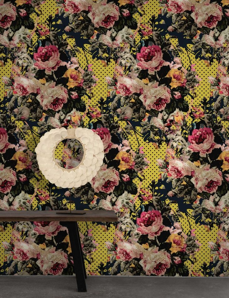 Full Bloom Wallpaper by Nina | FEATHR™    A joyous juxtaposition of handpainted roses and pop art motifs creates this thoroughly modern floral wallpaper.  Its fresh modern colours are the perfect balance to the vintage florals, inspired by vintage rococo patterns exposed during a renovation project.