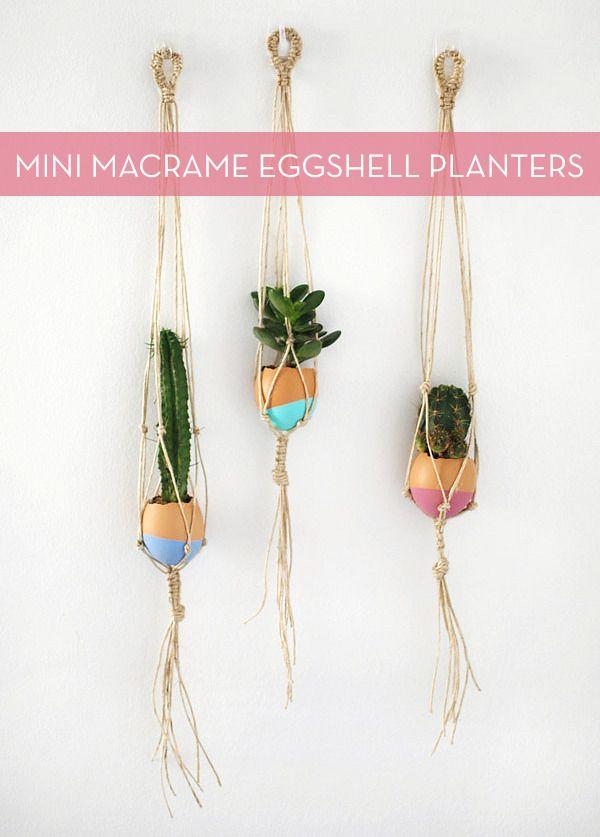 Make It: DIY Mini Macrame Eggshell Planters