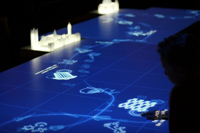 Interactive wayfinding display at the Museum of London's new galleries - light-up map of Thames and buildings