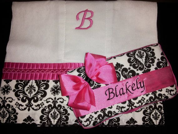 Personalized Diaper Wipe Case & Burp Cloth by GracefulCreationsMS,