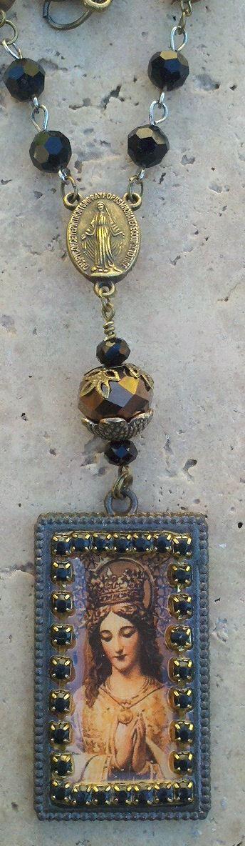 Unique Rosary Necklace Religious Jewelry by SecretStashBoutique, $58.00
