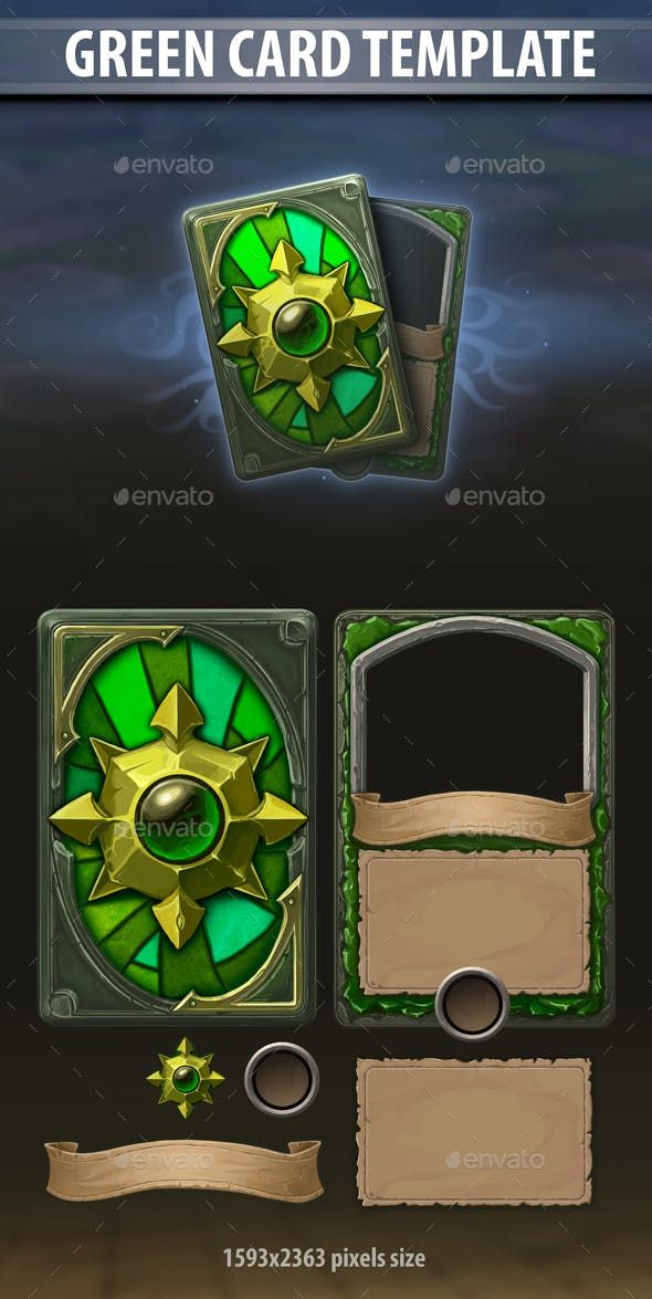 Green Card Template User Interfaces Game Assets Download Link Https Graphicriver Net Item Green Card Templa Pixel Art Games Game Concept Art Card Template