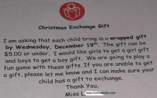 Christmas exchange gift in my little girl's classroom