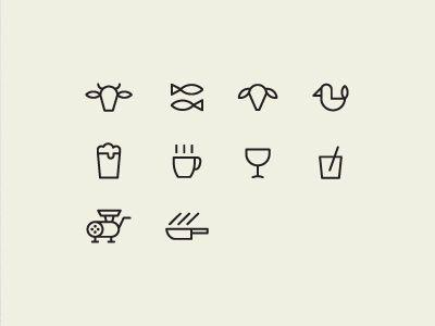 Restaurant Icons | http://dribbble.com/shots/572376-Restaurant-Icons