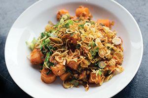 Momofuku Ssam Bar's Spicy Pork Sausage & Rice Cakes
