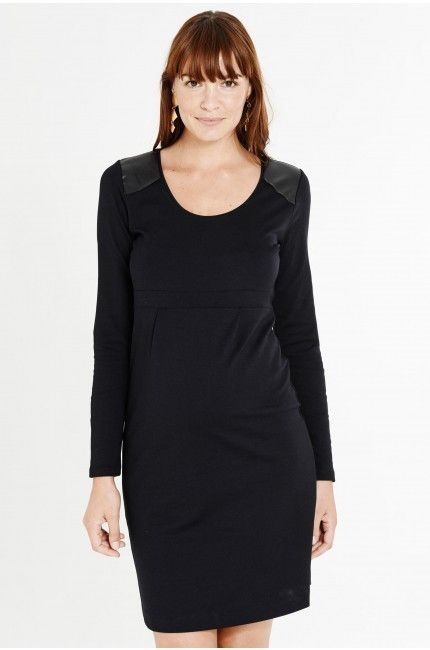 Queen Mum Maternity Punta di Roma dress with leather shoulder detail