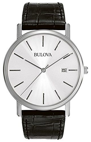 The classic clean look of the Bulova Men's Strap Silver Dial Watch is ideal for a man who is moving up in the world and wants to look good doing it. The white circle dial displays silver stick indices...