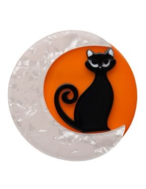 Cara the Halloween Kitty is a cute black cat brooch made from layered resin by Erstwilder. This collectable comes from Australia and is limited edition.