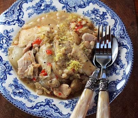 Slow Cooker Lemon-Garlic Chicken and White Bean Stew (from The Perfect Pantry via Slow Cooker from Scratch)