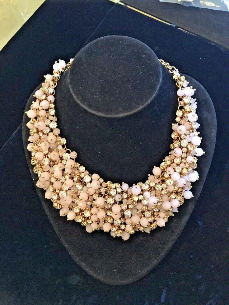 Light Pink Aget Beads & Crystal Diamonds Costume Large Collar Necklace  | eBay