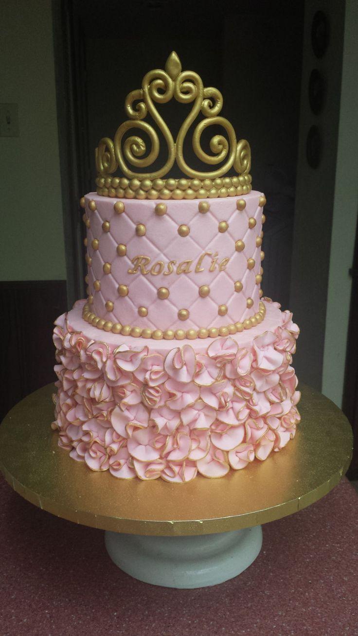 Little Princess Baby Shower Cake Buttercream cake with fondant ruffles and gumpaste tiara
