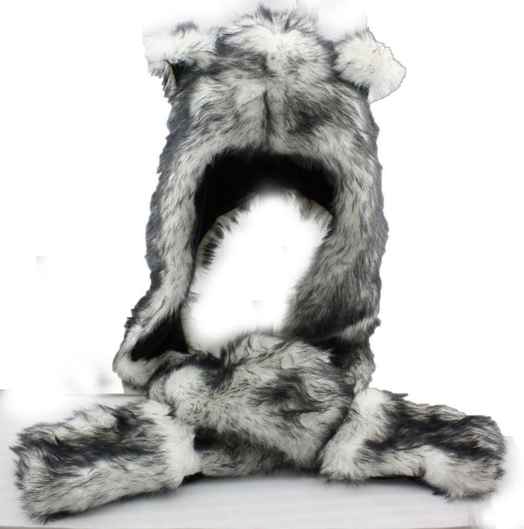 White Wolf Hood Faux Fur Hat with scarfs mittens & paws Spirit 3 in 1 USA