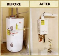 Tankless Water Heaters... A gas tankless water heater is an efficient appliance that uses a heat exchanger to heat water only when it's needed, which may help you save up to 40% on your energy bill!