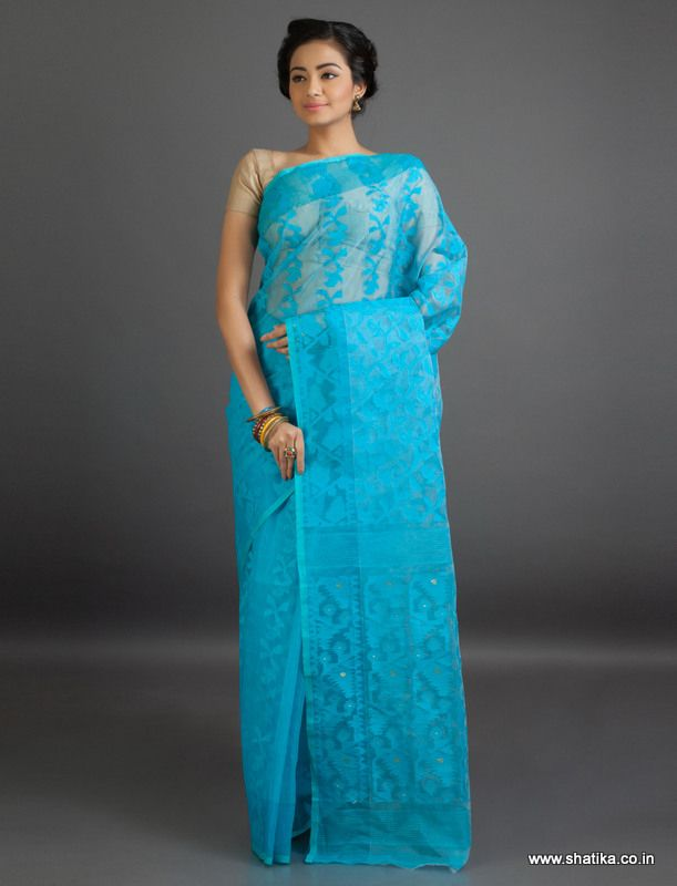 Kavya All Blue Bel Patterned Fine #JamdaniCottonSaree