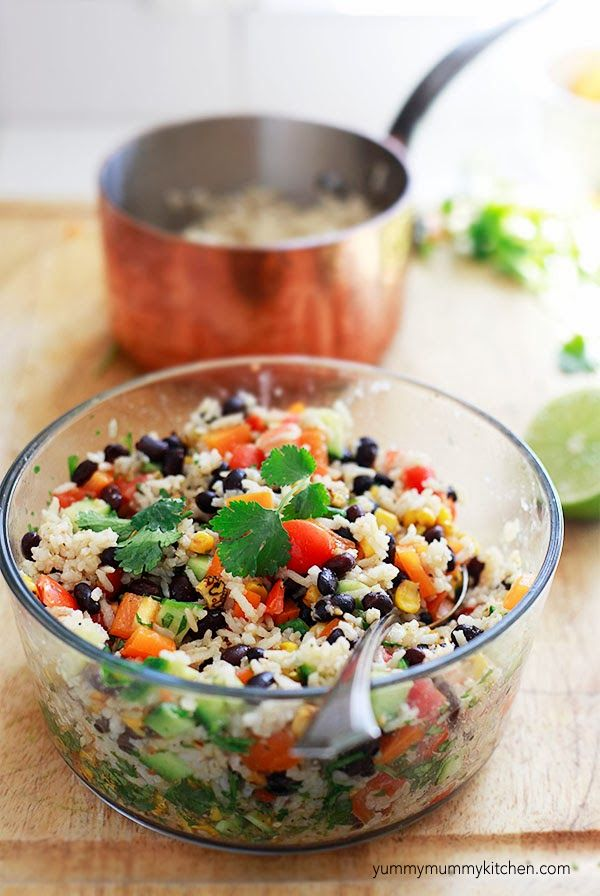 Tex Mex Brown Rice and Black Bean Salad. This simple salad is hearty and packed with veggies and complete protein. #vegetarian #glutenfree