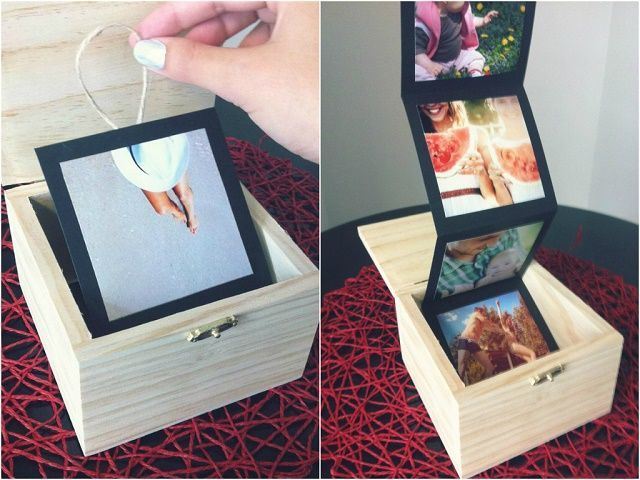 Adorable gift idea - a pull out photo album in a cute wooden box. Sweet!