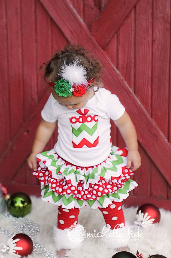 LONG SLEEVE Christmas chevron present bodysuit green and red polka dot all around ruffle bloomer skirt rosette headband for baby infant girl