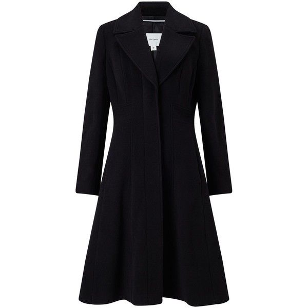 John Lewis Fit And Flare Coat, Black found on Polyvore featuring outerwear, coats, long sleeve slip, long coat, john lewis, long sleeve coat and long slip