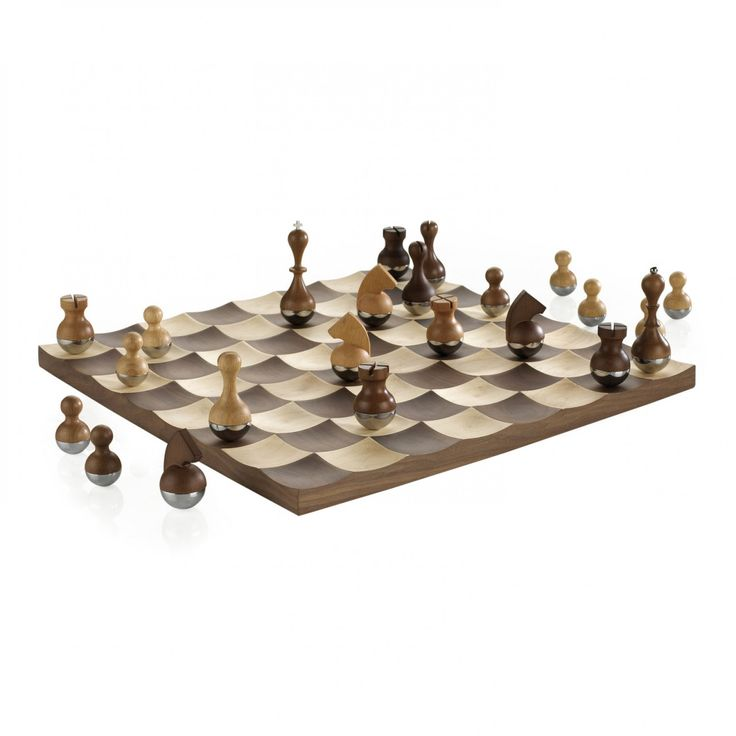 Umbra WOBBLE CHESS SET Designed By ADIN MUMMA. Motion Is Added To An  Otherwise Still Game. A Concave Landscape Stabilizes Freely Quivering Chess  Pieces, ...