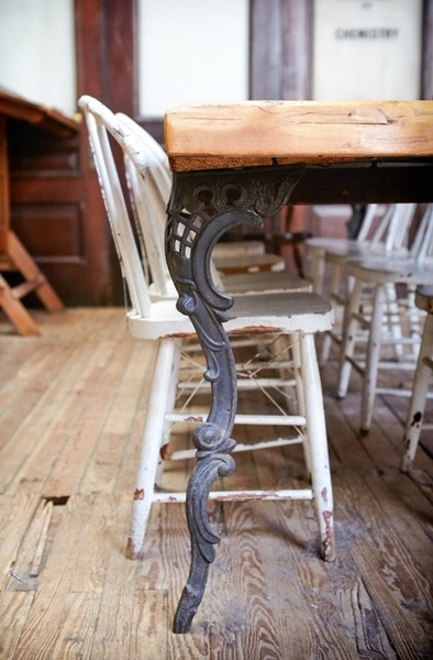 northeastparkway: source: Design Sponge -- table legs are amazing and love the way the old chair's rungs were wired, instead of tossing it out long ago...