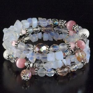 Opalite Memory Wire Bracelet Tutorial from beginning loop to end charm.  #Beading #Jewelry #Tutorials