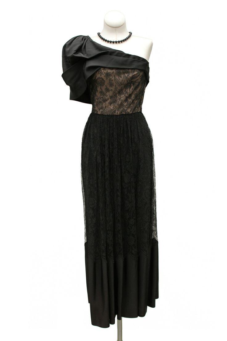 Cabaret Vintage - 1950s Black Lace One shoulder Cocktail Dress, $265 ...