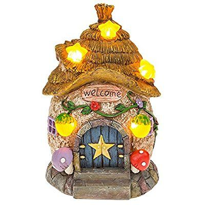 Solar Powered Illuminated Fairy Star Cottage / Dwelling Garden Ornament