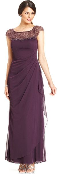 Xscape Capsleeve Beaded Gown in Purple (Plum)