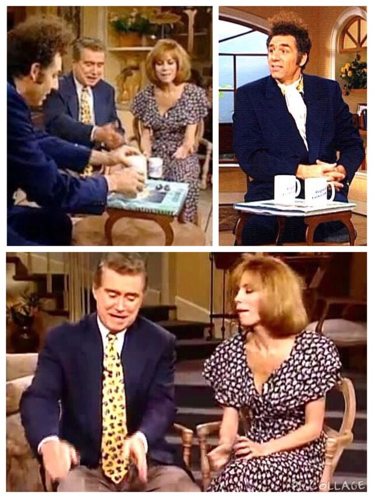 (The Opposite) - REGIS : Can I bring out our next guest now?  KATHY LEE : Please.  REGIS: Young guy, he's got a new book coming out, it's a coffee table book about coffee tables!       KATHY LEE: I love his hair. REGIS: Kramer. Where did you come up with this idea?  KRAMER: : Actually, this is a true story. I was skiing at the time.  REGIS: When I'm skiing, Kramer, I'm trying not to kill myself, and you're writing books!  KRAMER : Yeah, well, now you kids don't go out and try that. You stay…