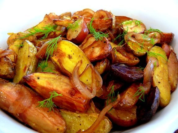 Medley of Roasted Potatoes with Balsamic Glazed Onions | Noble Pig