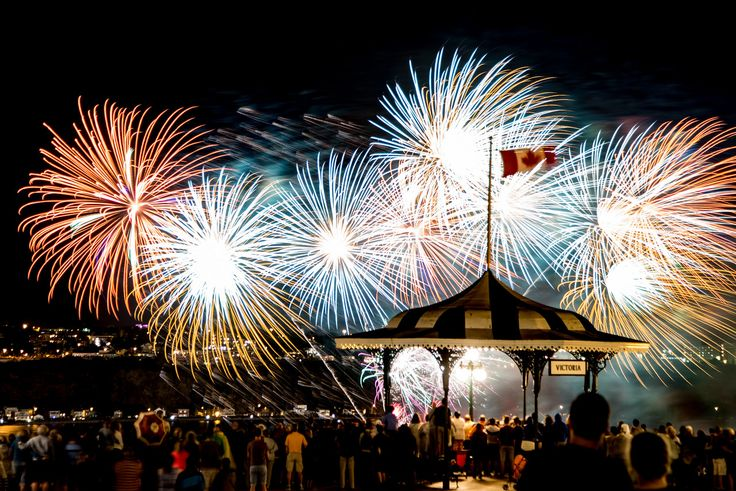 Fireworks Over the St. Lawrence Seaway in Old Town, Quebec City, Canada