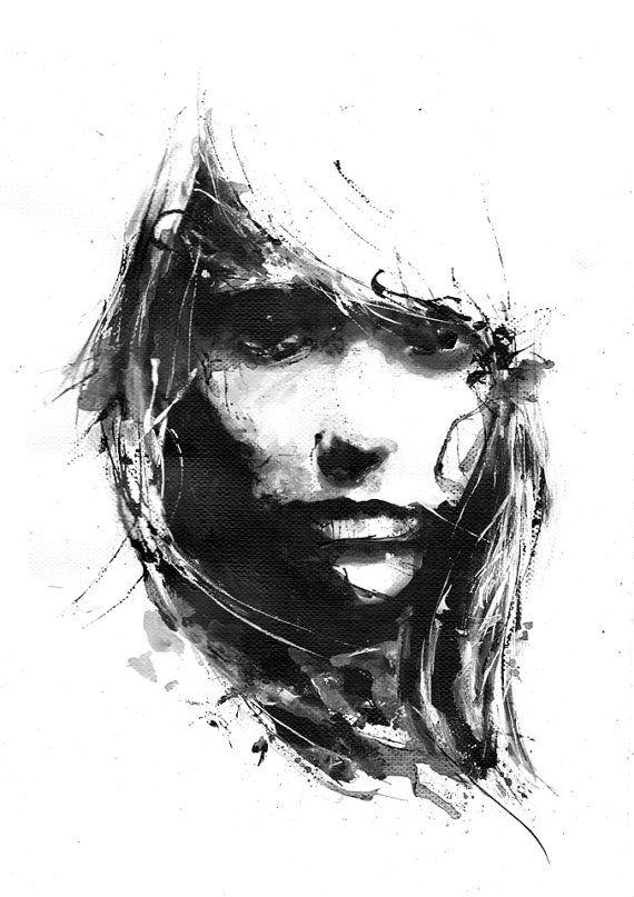 Negativen Raum schwarz-weiß-Kunst, Mädchen Gesicht, Minimalismus, dunkles Gesicht, Shadow, zeitgenössische Kunst, Kunst Frau Figur, Acryl Kunstdruck, traurig