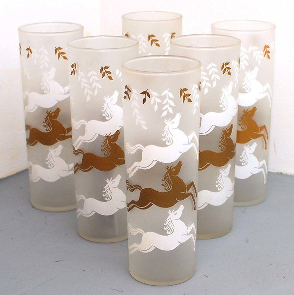 1950s 6 Piece Frosted Highball Glass Set with White and Gold Horses