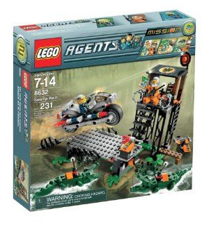 LEGO Agents Swamp Raid by LEGO. $102.36. The task for special agent builders: Infiltrate the base and retrieve the map. Also includes the evil guard tower, bridge, escape vehicle, two crocodiles and one Henchman minifigure. Agent motorcycle with minifigure is included. Agent tip: Watch out for mud slicks and beware of the swamp base tip bridge that could send agents into crocodile-infested water. Contains 231 pieces. From the Manufacturer                Mission 2: The Swamp Rai...