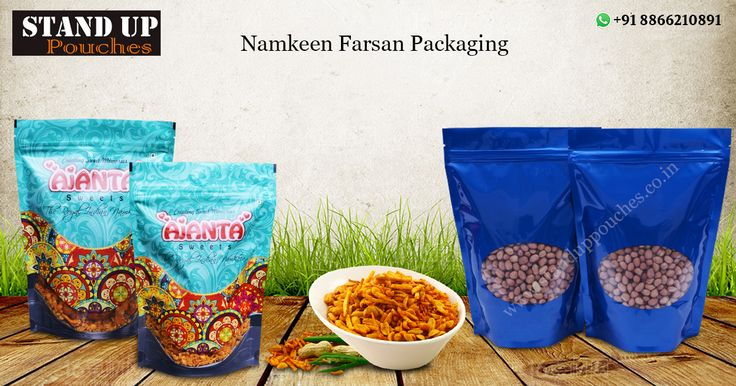 #Standuppouches produces bags with various #sizes, #colors and #shapes for your #namkeenfarsanpackaging. We produce our each #namkeenpouches using high quality materials