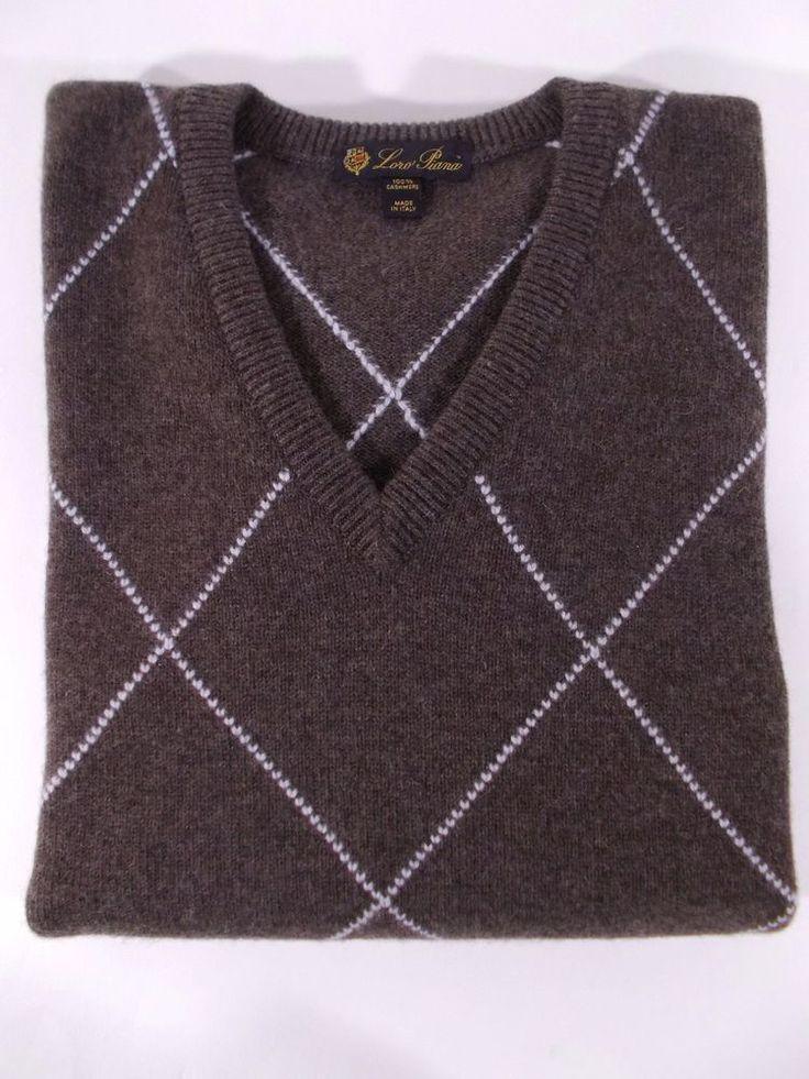 LORO PIANA pullover maglione UOMO scollo a V 100% CASHMERE rombi tg. M - 50(IT)
