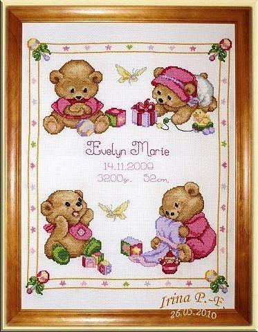Детская вышивка. Метрика с мишками. источник: http://www.liveinternet.ru/users/aifa/post276020610/