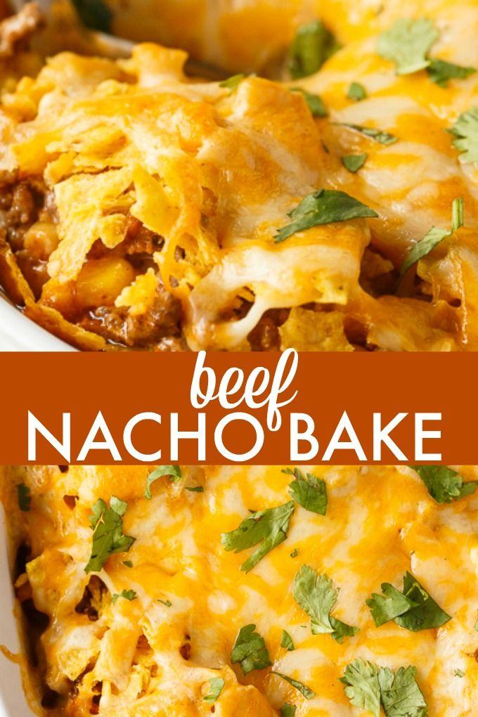 Beef Nacho Bake Recipe Baked Nachos Nachos Beef Nachos Recipe Beef