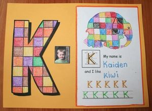 """Name activities: """"Elmer"""" the elephant-themed initial name writing craftivity. Children can color their initial as a separate craft, or include it with the worksheet. Completed projects make a sweet bulletin board. Later, collate the pages & add the cover for an instant class-made name booklet."""