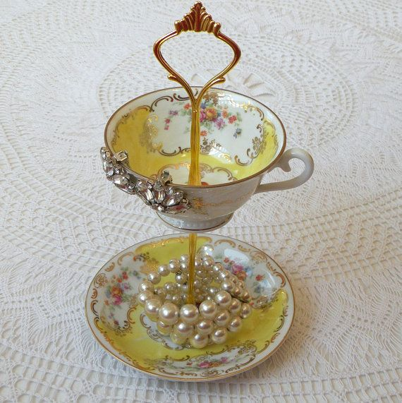 Vintage bright yellow china tea cup & saucer stand with roses, 2 Tiers for jewelry & more by High Tea for Alice
