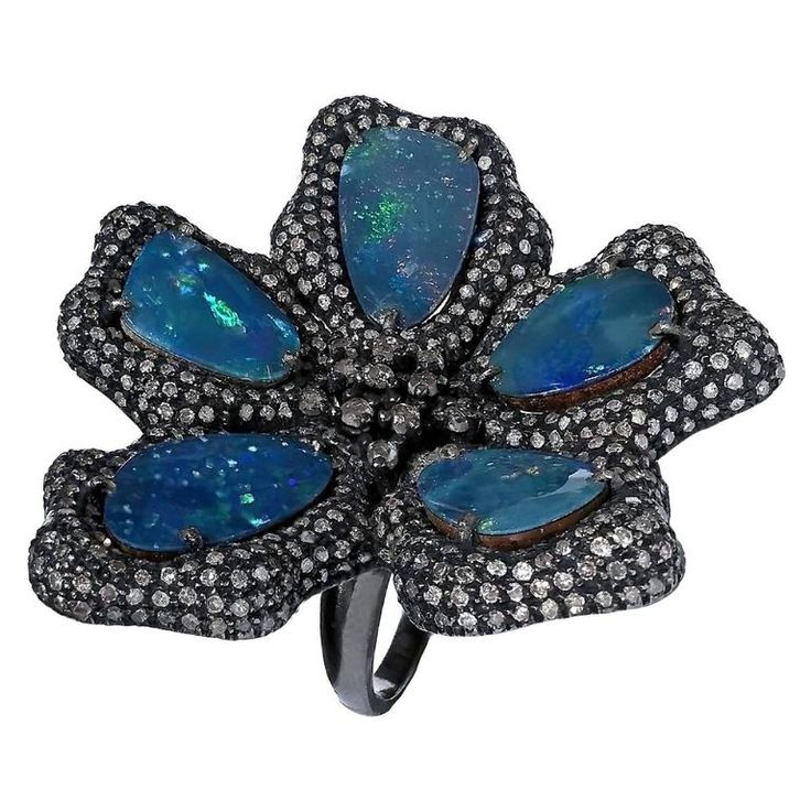 Fern Freeman - Diamond and Black Opal Doublet Five Petal Flower Ring